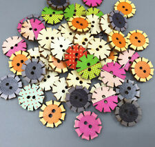 Retro Wooden flower Buttons scrapbooking crafts decoration Sewing 20mm
