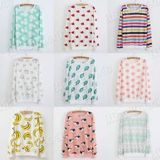 New Girls Top Tee Women Blouse Sweater Casual Cotton T-Shirt Korean Long Sleeves