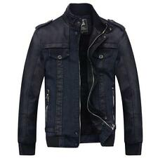 NEW Fashion Mens Winter Warm Coat Jacket Fur lined Collar Denim Leather Outwear