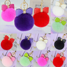 Colorized Faux Fur Key Chain Bag Charm Fluffy Puff Ball Bow Key Ring Car Pendant