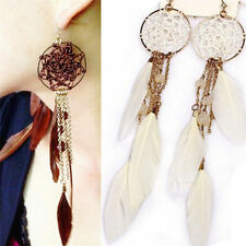 Long Design Dream Bohemia Feather Beads Catcher Earrings for Women Jewelry CHI