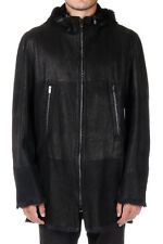 DROMe New Man Black Leather Real Fur Zippe coat Jacket Made in Italy nwt