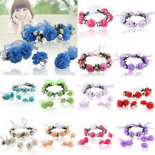 Flower Garland Floral Bridal Headband Hairband Wedding Prom Hair Accessories Set