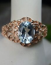 Blue Topaz Sterling Silver & Rose Gold Victorian Filigree Ring Size: {Any/MTO}