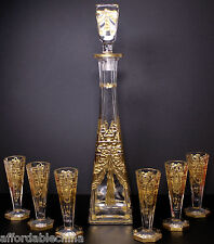 Gorgeous Antique Cut Gold Gilt Crystal Decanter Set Six Glass Cordials