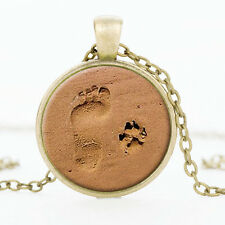 Dog Paw Print value Footprint ilver Pendant Necklace for Lover Jewelry Gift CHI