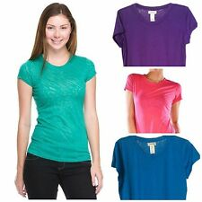 Women's Scoop Neck Burn-out Tee T Shirt Top Plus Size