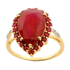 8.40 Carat Ruby Genuine Gemstone Diamond Ring In 9kt Solid Yellow Gold Jewelry