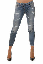 FAITH CONNEXION New Woman Indigo Stretch Denim Destroyed Jeans Made in Italy NWT
