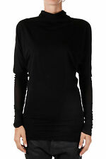 RICK OWENS LILIES Woman Black High Collar T-shirt Made in Italy