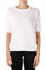 O.D.D. New woman White Short Sleeve Round Neck Cashmere Jumper Sweater Made Ita