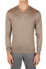CRUCIANI Man Cashmere and Silk V Neck Sweater Made in Italy