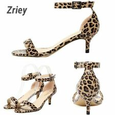 Women Fashion Peep Toe Mid Heel Sandals Ankle Strap Leopard Summer Wedding Shoes
