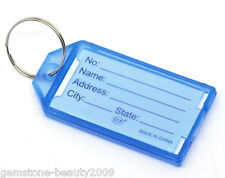 Wholesale HOT Blue Plastic Key Ring Tags with Name/ID Card 57x29mm