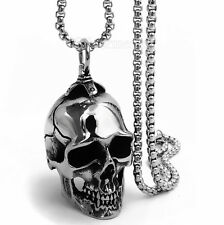 Men Stainless Steel Biker Pendant Necklace Large Heavy High Polished Skull