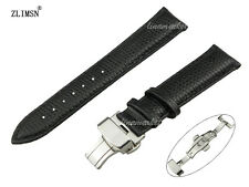 ZLIMSN New Leather Watch Band Auto Butterfly Clasp Wristband Strap 14 16 18 20mm