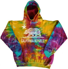 Men's tie dye sweatshirt dyed hoodie California bear flag sweat shirt hoody