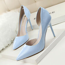 12 Colors Women Slim High Heel Stilettos PU Pointed Toe Sexy Pumps Work OL Shoes