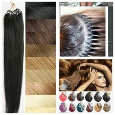 "New 100s 16-22"" Easy Loop Micro Rings Beads Remy Human Hair Extensions Straight"