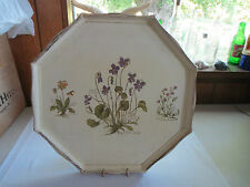 VINTAGE HAND PAINTED WOOD OCTAGON SERVING TRAY FLORAL SHABBY CHIC!
