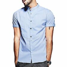 Fashion Mens Casual Shirt 100% Cotton Stand Collar Blue Short Sleeve FC-15519.M