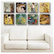 Synthetic CANVAS +GIFT Tree Life Kiss Woman Gustav Klimt Set Of 8 Poster