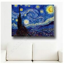 Synthetic CANVAS +GIFT Starry Night Vincent Van Gogh Paintings Posters Giclee