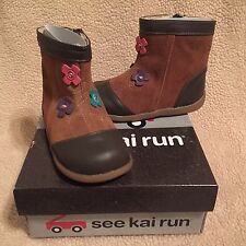 See Kai Run Perfidia Camel Toddler Girls Boots size 7 8 NEW Box Flowers $55 NWB