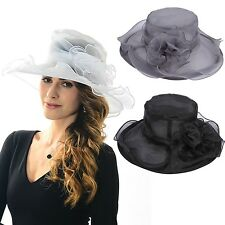 Organza Floral Hat Kentucky Formal Wedding Church Dress Derby Hat Wide Brim