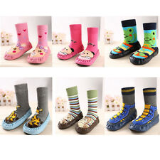 Infant Cartoon Cute Shoes Indoor Faux Leather Sole Non-Slip Warm Thick Socks New