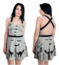 Juniors XXL Too Fast GRAVEYARD black cats BATS punk gothic rockabilly MINI DRESS