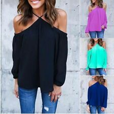 Chiffon Sexy Off-shoulder Long Sleeve Sexy Top Blouse T-shirt Summer Shirt Tops