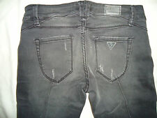 RARE NEW WOMENS GUESS POWER ULTRA SKINNY BLACK DENIM DISTRESSED PANTS JEANS 27