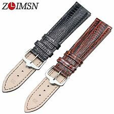 ZLIMSN 22mm 24mm Black 100% Genuine Leather Lizard Grain Watch Band Strap Clasp