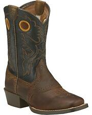 CHILDREN'S/YOUTH SQUARE TOE ARIAT ROUGH STOCK  WESTERN COWBOY BOOTS 10016239