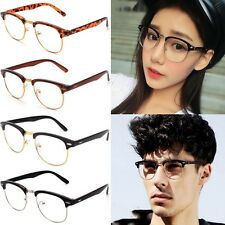 Fashion Clear Lens Half Frame Glasses Vintage Retro Nerd Geek Eyewear Eyeglasses
