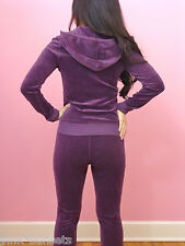 Juicy Couture Pave Heart Tracksuit Velour Hoodie Pants Purple Basic Track Set M