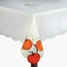 Assorted Sizes Autumn Harvest Pumpkins Ivory Cutwork Fabric Tablecloth FREE SHIP