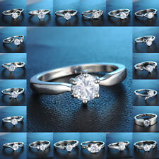 18K White Gold Filled Ring Clear Sapphire Wedding Engagement Jewelry # 6,7,8,9