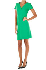 MOSCHINO BOUTIQUE New woman green V Neck Short Sleeves Virgin Wool Dress NWT