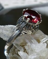 Victorian/Edwardian *Ruby* Sterling Silver Filigree Ring Size: {Made To Order}