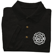 Fire Dept polo shirt firefighter fireman firemen collared uniform costume