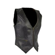 WOMENS LADIES BIKER MOTORCYCLE  REAL LEATHER VEST STRETCHABLE CLOSEOUT SALE  K1V