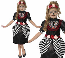 Sugar Skull Costume Skeleton Girls Halloween Fancy Dress Outfit Ages 4-12