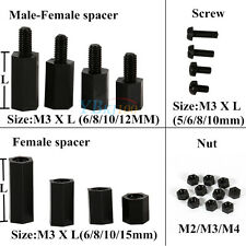 100pcs M2 M3 M4 Black Plastic Nylon Hex Male-Female/Female Spacer Screw Nut Hot