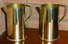 Pair Trench Art Jugs, Italian Italy Officine VillarPerosa Brass Shell Case WW1