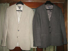 Worn ONCE! Gorgeous Lined LINEN SPORT COAT Mens BLAZER JACKET US 36 R Grey Beige