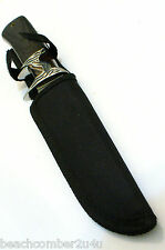 "HUNT DOWN SUB-HILT 10"" OV KNIFE LEATHER SHEATH BELT HUNG - DECORATED SUBHILT"