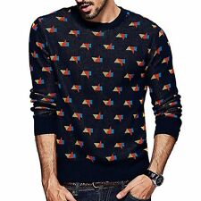 New Mens Pure Cotton Long Sleeve Round Collar Printing Sweater Pullover M to 2XL