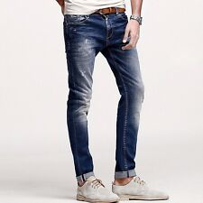 New Men Jeans Mid-Rise Trousers Slim Skinny Pants Cotton 28 29 30 31 32 33 34 36